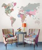世界地図(ボヘミアン)ウォールステッカー・壁用シール ウォールステッカー