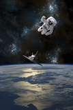 An Astronaut Drifting in Space Is Rescued by a Space Shuttle Orbiting Earth Planscher av Stocktrek Images,