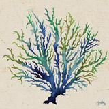 Indigo and Green Coral on Cream I Art by Elizabeth Medley