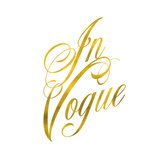 In Vogue Gold Faux Foil Metallic Glitter Fashion Quote on White Prints by  silverspiralarts