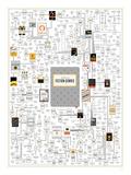A Plotting of Fiction Genres Kunstdrucke von  Pop Chart Lab