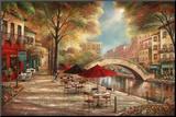 Riverwalk Café Mounted Print by Ruane Manning