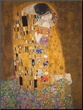Kyssen, ca 1907 Print på trä av Gustav Klimt