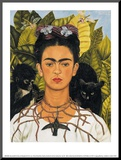 Self-Portrait with Thorn Necklace and Hummingbird, c.1940 Monteret tryk af Frida Kahlo
