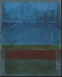 Blå, grøn og brun Monteret tryk af Mark Rothko