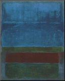 Blauw, groen en bruin Kunst op hout van Mark Rothko
