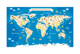 Map of the World with Animals. Beautiful Colorful Vector Illustration Posters av  coffeee_in