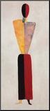 Das Mädchen, Figur auf Weiß Druck aufgezogen auf Holzplatte von Kasimir Malevich