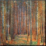 Dennenbos Kunst op hout van Gustav Klimt