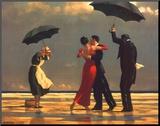 De zingende butler Kunst op hout van Vettriano, Jack