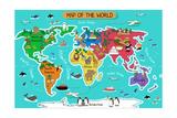 Kart over verden Plakater av Artisticco LLC