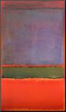 Nr 6, violett, grön och röd, 1951 Print på trä av Mark Rothko
