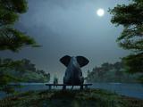 Elephant and Dog Meditate at Summer Night Fotografisk tryk af  Mike_Kiev