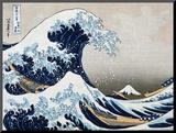 Den store bølgen ved Kanagawa, fra 36 visninger av berget Fuji, ca. 1829 Montert trykk av Katsushika Hokusai