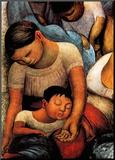 La Noche de Los Pobres Mounted Print by Diego Rivera