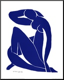Blå nøgenmodel II Monteret tryk af Henri Matisse