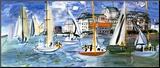Regates Dans le Port de Trouville Kunst op hout van Raoul Dufy