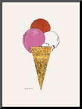 Ice Cream Dessert, c. 1959 (red, pink, and white) Kunst op hout van Andy Warhol