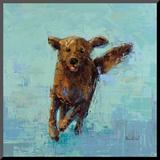 Golden Dog No. 5 Monteret tryk af Rebecca Kinkead
