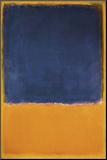 Zonder titel, ca.1950, zwart vlak op oranje/geel Kunst op hout van Mark Rothko