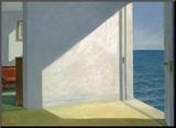 Zimmer mit Meeresblick Druck aufgezogen auf Holzplatte von Edward Hopper