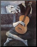 Der alte Gitarrenspieler, ca. 1903 Druck aufgezogen auf Holzplatte von Pablo Picasso