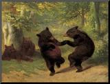 Dancing Bears Monteret tryk af William Holbrook Beard