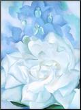 White Rose W/ Lakspur No.2 Mounted Print by Georgia O'Keeffe