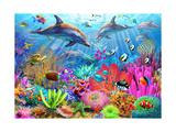 Dolphin Coral Reef Giclée-Premiumdruck von Adrian Chesterman