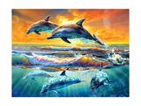 Dolphins at Dawn Lámina giclée prémium por Adrian Chesterman