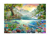 Land and Water Utopia Giclée-Premiumdruck von Adrian Chesterman