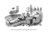 """But now the good guy with a gun has a foot wound."" - New Yorker Cartoon Impressão giclée premium por Frank Cotham"