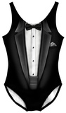 Womens: Black Tuxedo Costume One-Piece (Front/Back) Bodysuit