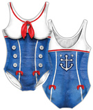 Womens: Sailor Girl Costume One-Piece (Front/Back) Bodysuit