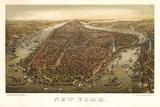 1874 NYC Map Posters av N. Harbick