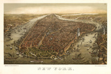1874 NYC Map Print by N. Harbick