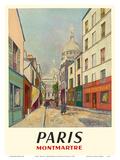 Paris, France - Butte Montmartre - Basilica of the Sacré-Cœur - Rue du Chevalier de la Barre Póster por Maurice Utrillo