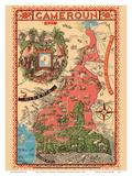 Map of French Cameroun-French West Africa Láminas por Léon Craste