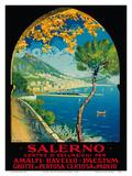 Salerno, Italy - Amalfi, Ravello, Paestum, Grotte de Pertosa (Pertosa Caves), Certosa di Padvio Poster by Vincenzo Alicandri