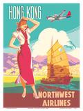 Hong Kong - Northwest Airlines - Boeing 377 Stratocruiser - Chinese Junk Kunstdrucke von  Pacifica Island Art