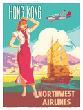 Hong Kong - Northwest Airlines - Boeing 377 Stratocruiser - Chinese Junk Poster di  Pacifica Island Art