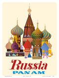 Russia - Pan American World Airways - Saint Basil's Cathedral, Moscow - Onion Domes Plakater af  Pacifica Island Art