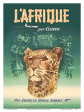L'Afrique par Clipper (Africa by Clipper) - Pan American World Airways - African Cheetah Plakater af  Pacifica Island Art