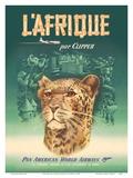 L'Afrique par Clipper (Africa by Clipper) - Pan American World Airways - African Cheetah Poster von  Pacifica Island Art