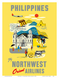 Philippines - Fly Northwest Orient Airlines Prints by  Pacifica Island Art