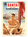 Fly Qantas and TEAL to New Zealand - Qantas Empire Airways (QEA) - Australia's Overseas Airline - M Art by  Pacifica Island Art