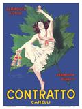 Contratto Canelli - Vermouth Victor - Vermouth Bianco - Italian Liquor Posters av Leonetto Cappiello