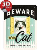 Animal Club - Beware of the Cat Blikkskilt