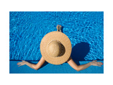 Woman in Hat Relaxing at the Pool Prints by  haveseen