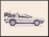 Delorean Back To The Future Mounted Print by Florent Bodart